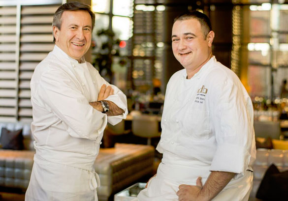 Celebrity Chef Daniel Boulud encourages Chef Clark Bowen and his team at Boulud Sud