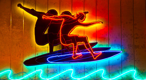 Neon Surfer at Alvin's Island Beach Shop on Lincoln Road