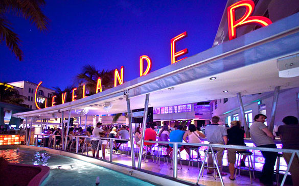 The Clevelander Hotel's outdoor bar on Ocean Drive