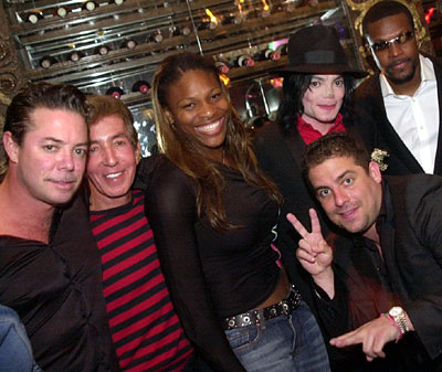 Shareef Malnik, Al Malnik, Serena Williams, Michael Jackson, Chris Tucker and Brett Ratner at The Forge.