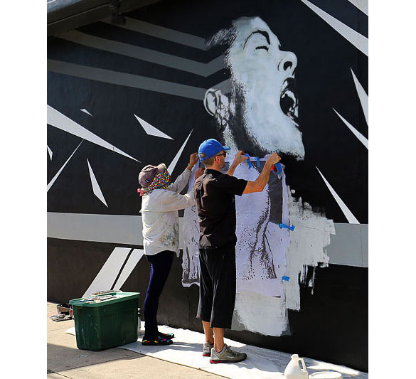 Billie Holiday going up at O. Ascanio Gallery