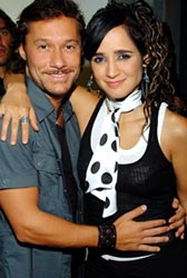 Diego Torres & Julieta Venegas backstage at MTV's Latin VMA