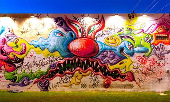 Kenny Scharf's mural at Wynwood Walls