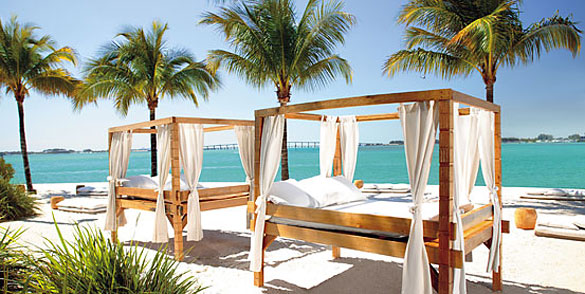 Mandarin Oriental Miami Hotel's private beach on Biscayne Bay