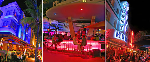 Imperial, Clevelander and Colony hotels on Ocean Drive