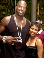 Shaquille O'Neal and wife Shaunie at Usher's party at the Shore Club