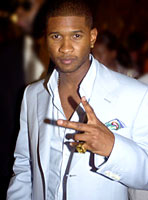 Usher arriving at his post VMA party at the Shore Club