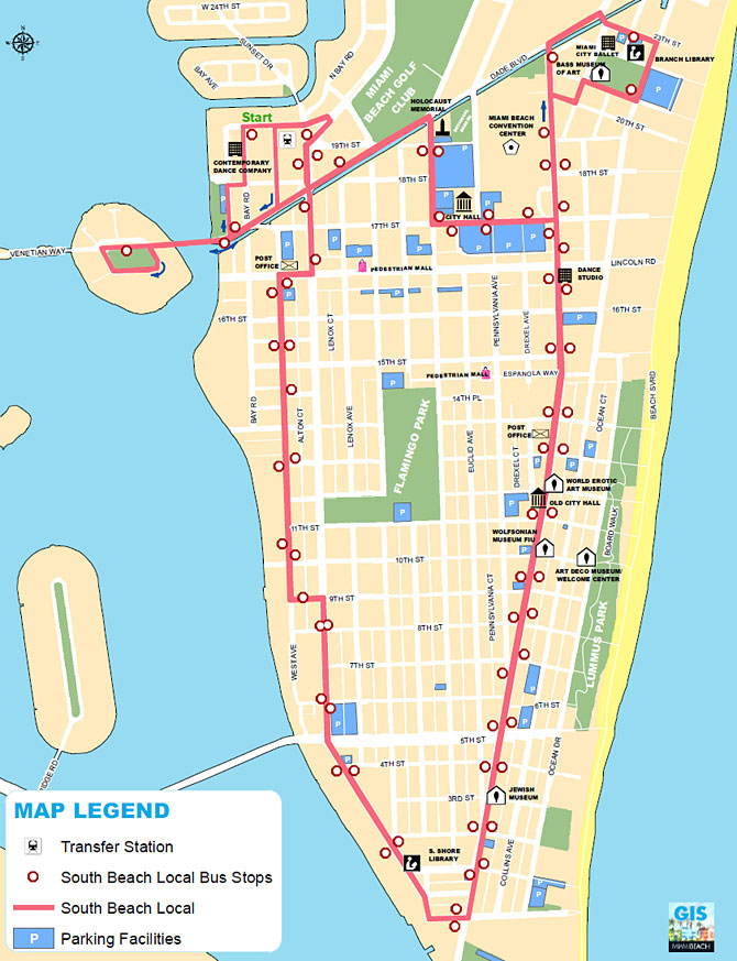 South Beach Local Shuttle Bus Map