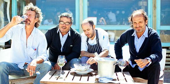 La Huella partners Guzman Artagaveytia, Gustavo Barbero, Chef Alejandro Morales and Martin Pittaluga
