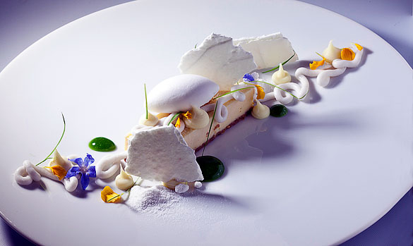Florida-fresh micro greens and edible flowers play an important role in Bachour's elegant craftsmanship