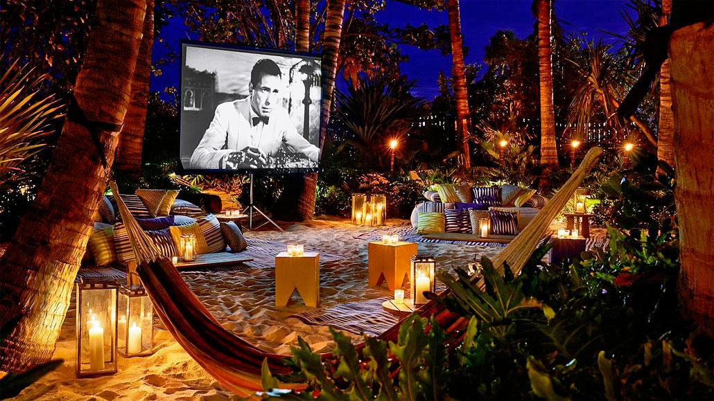 EDITION Hotel's beachfront movie screening area