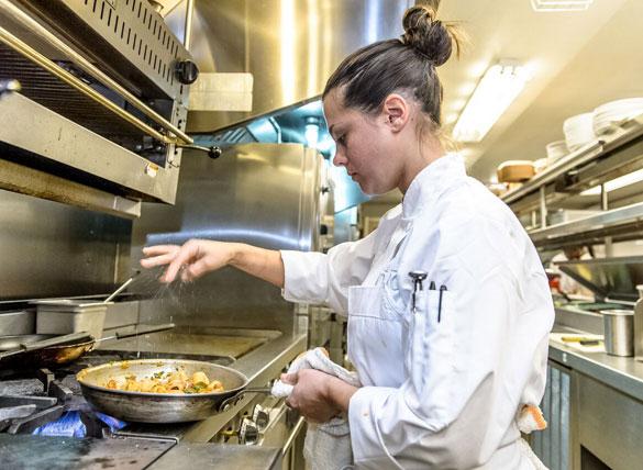Chef Kaytlin Brakefield at work