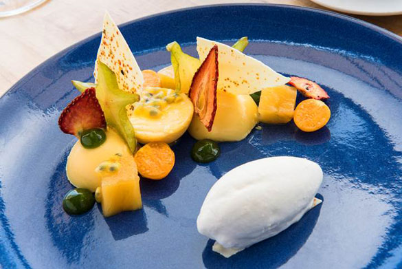 "Chef Montinola's gluten-free ""Garden of Eden"" features passion fruit, strawberries, kiwi and pineapple with white chocolate, Japanese peppers and toasted coconut"