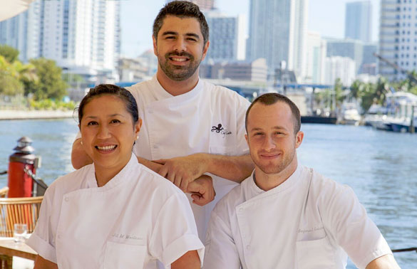 Seaspice and Modern Garden's Culinary Team - Executive Pastry Chef Jill Montinola, Executive Chef Angel Leon and Sous Chef Benjamin Goldman