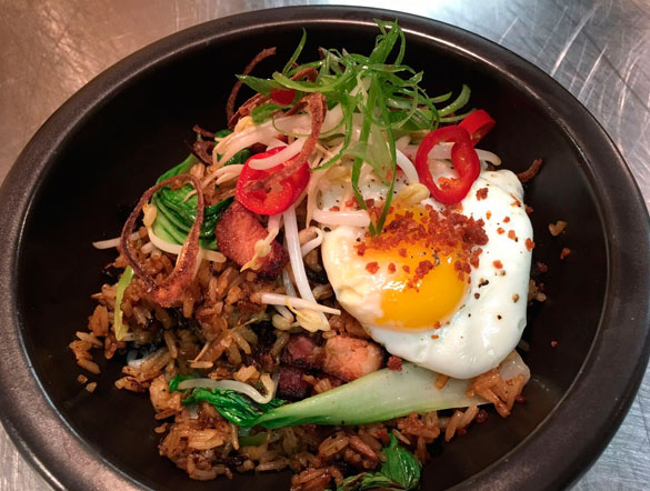The Sarsaparilla Club's All Day, All Night Sunday Brunch service includes Pig & Khao Fried Rice