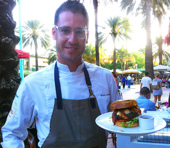 "Bringing the beef to Lincoln Mall, Sugar Factory Chef Keith Levesque presents ""The Big Cheesy"" burger topped with mac & cheese, bacon and barbeque sauce"