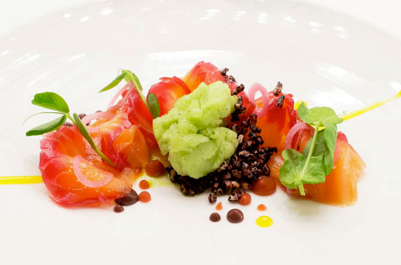 Beet cured salmon with blood orange, forbidden black rice, cucumber and jalapeno