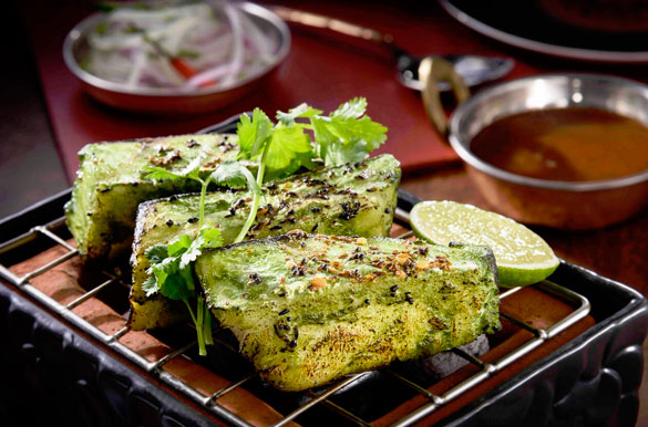 Jaya's Tandoor Sea Bass with tamarind chutney