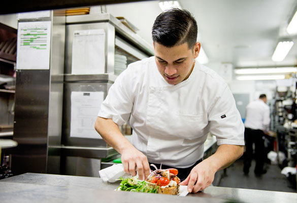 Chef Juan Loaisiga focuses on the details of presentation and the freshness of each ingredient