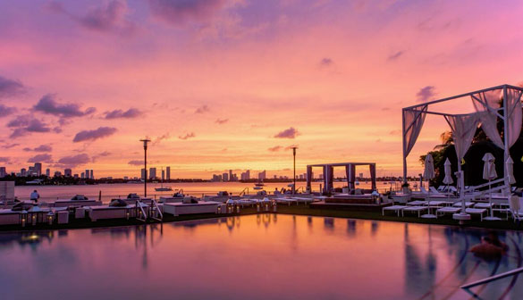 Enjoy FIVE spectacular Sunset Happy Hours poolside at the Mondrian Hotel on South Beach