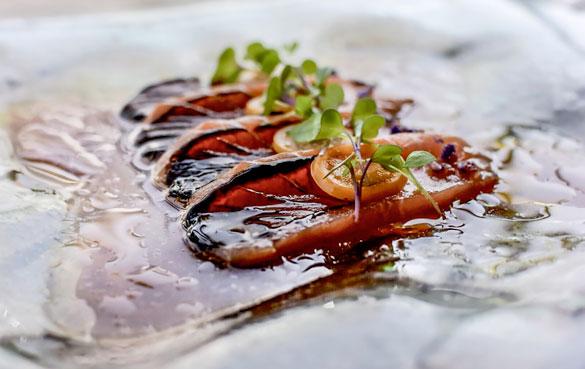 Chef Cesar Vega's Salmon Tiradito (photo courtesy of SUSHISAMBA)