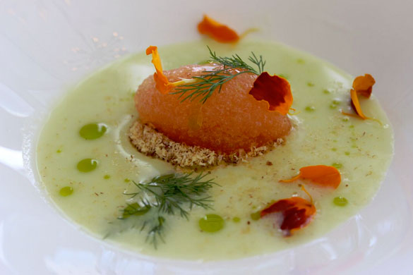Summer fresh Cucumber Gazpacho with tomato sorbet, almond powder and a hint of mint