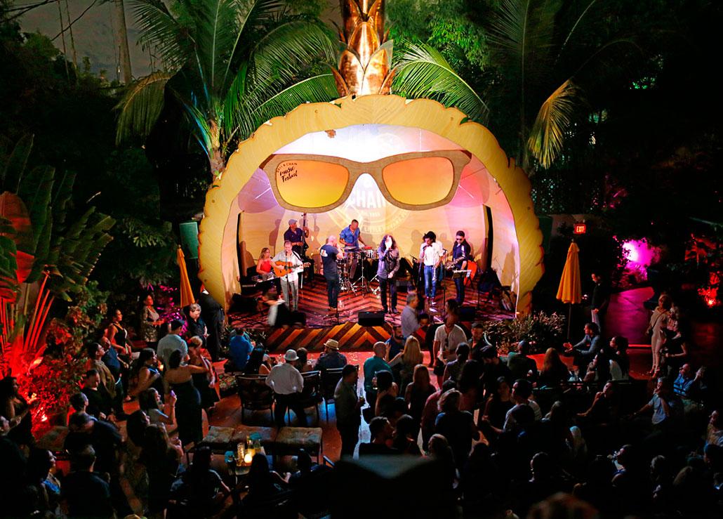 Conjunto Progreso on stage in Ball & Chain's outdoor concert area