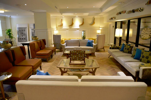 A second level Sky Lobby has subtle vintage furnishings plus a coffee bar, lounge and library where guests can gather