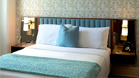 Langford Hotel guestrooms have vintage appointments paired with modern conveniences