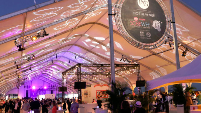 The South Beach Wine & Food Festival takes place in massive beachfront pavillions along Collins Avenue and Ocean Drive