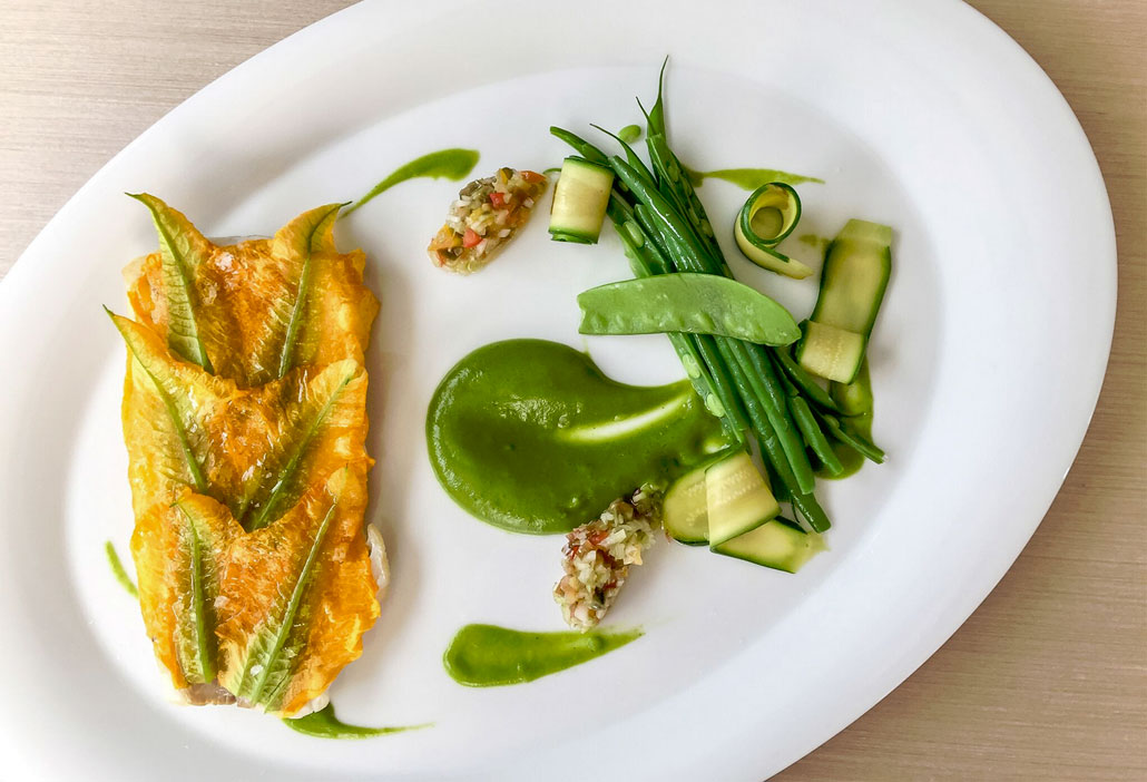 Florida fresh Red Snapper and Zucchini Flowers - a feast for the senses