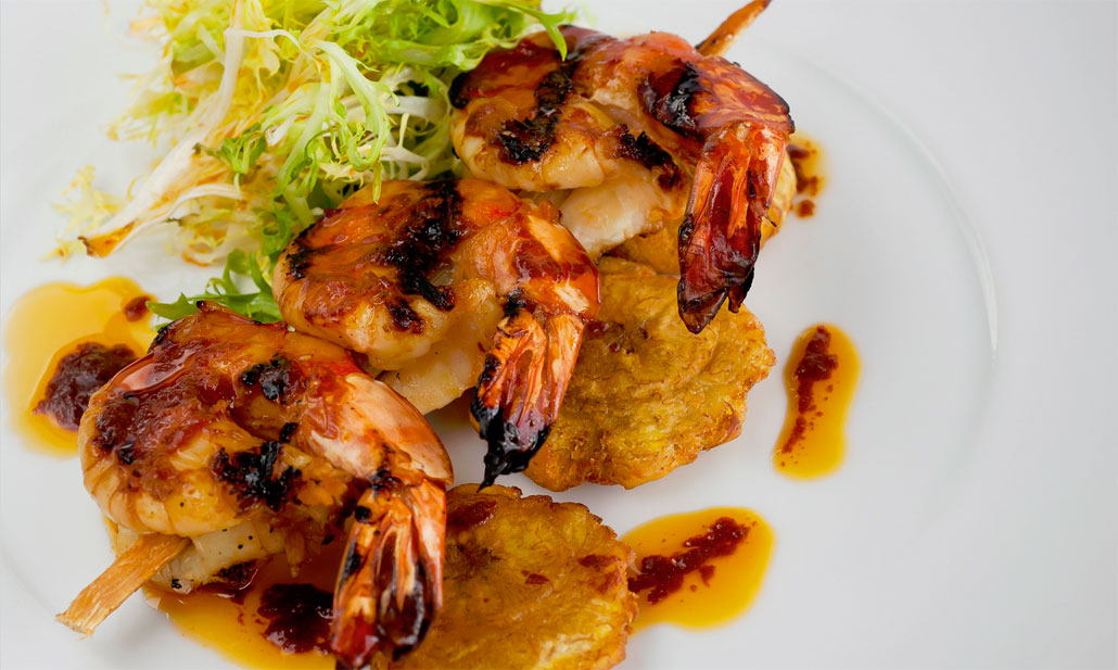 Grilled Prawns and Tostomes at Juvia, South Beach