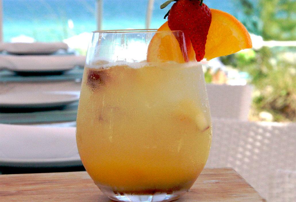 White Peach Sangria at Gili's Beach Club, Sunny Isles