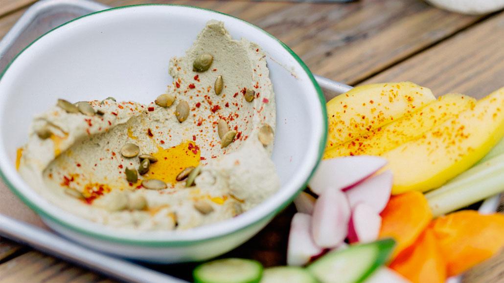 Mayan Dip with fresh veggies at Lolo's Surf Cantina