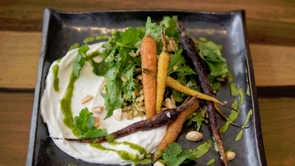 Spiced Honey Carrots & Puffed Farro Salad at Sarsaparilla Club