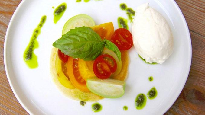 Heirloom Tomato & Burratina at Villa Azur, South Beach