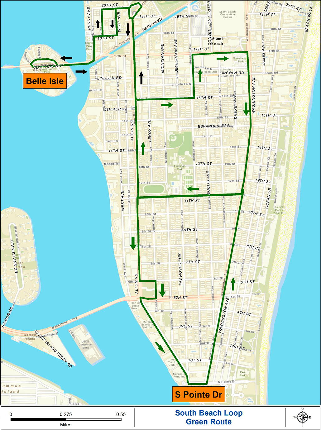 south beach loop green route map. miami beach free trolley service  south beach magazine